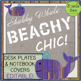 Whale Theme Desk Plates & Notebook Covers (Editable)
