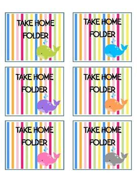Whale Theme Take Home Folder Labels