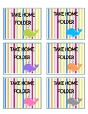 Whale Theme Take Home Folder Labels