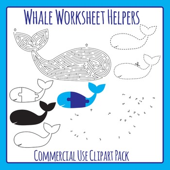 Whale Worksheet Helpers - Maze, Dot to Dot, etc - Commercial Use Clip Art Set