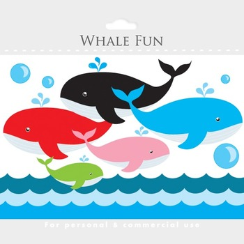 Whale clipart - whales clip art, nautical clipart, ocean, sea, waves, papers