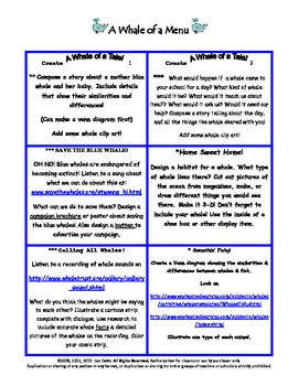 Whale of a Menu for Gifted, Differentiation, or Early Finishers!