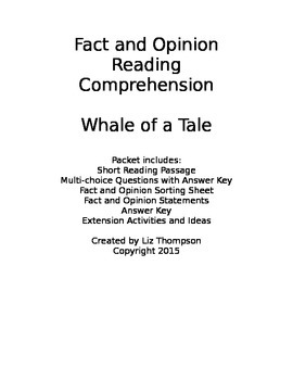 Whale of a Tale - Reading comprehension with fact and opinion