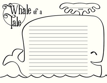Whale of a Tale Writing Paper and Coloring Sheet