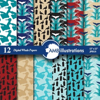 Digital Papers, Whale digital paper and backgrounds, Nautical scrapbook, AMB-462