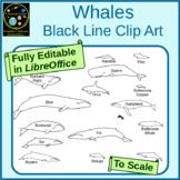 Whales Black Line Clip Art
