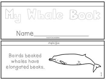 Whale Activities Book to Cut and Create, Posters, Matching Cards for Centers