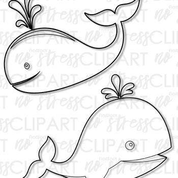 Whales Clip Art (Digital Use Ok!)