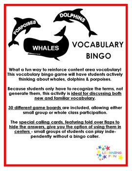 Whales, Dolphins and Porpoises Vocabulary Bingo
