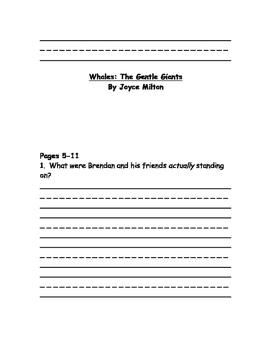 Whales: Gentle Giants (Milton) comprehension questions