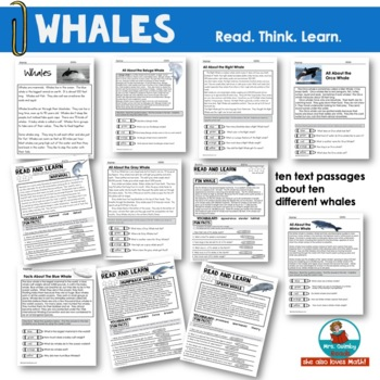 Whales - Informational Text Passages and Writing Responses- Primary Learners