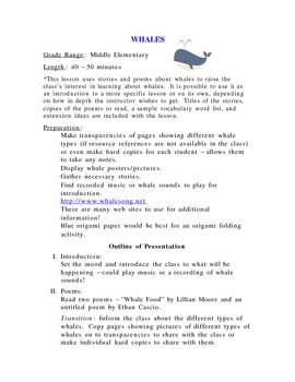 Whales - Intro to whales using stories and poems