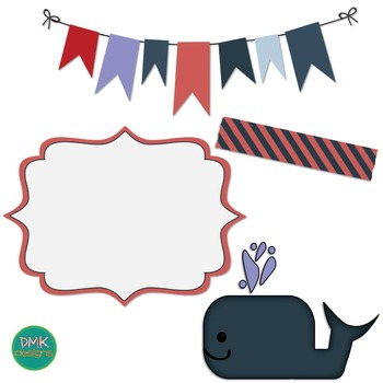 Digital Paper and Frame Set- Whales