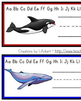 Whales (Sea Life) Desk / Name / Cubbie Tags