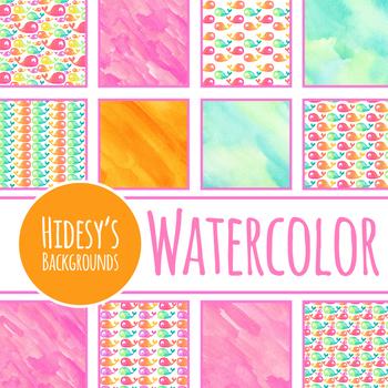 Whales Watercolor Handpainted Backgrounds / Digital Papers Clip Art Set