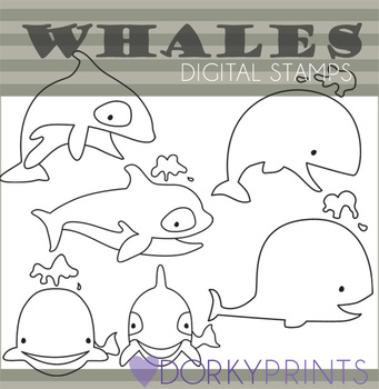 Whales and Killer Whale Black Line Art