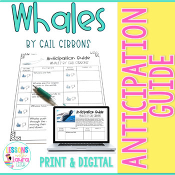 Whales by Gail Gibbons Anticipation Guide