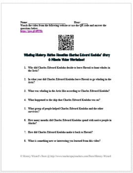 Whaling History: Native Hawaiian Charles Edward Kealoha Video Worksheet