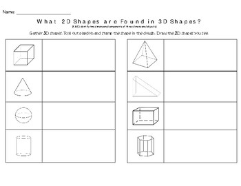What 2D Shapes are found in 3D Shapes? Recording Sheet