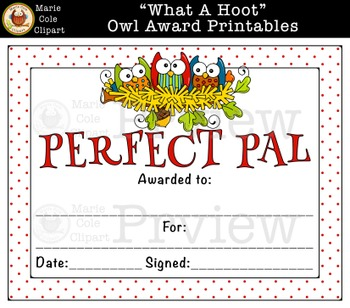 """""""What A Hoot!"""" End Of Year Owl Award Printables [MarieColeClipart]"""