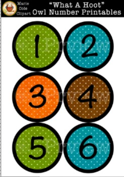 """""""What A Hoot!"""" Numbers 1 - 36  Printables [Marie Cole Clipart]"""
