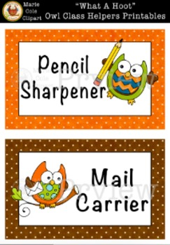 """""""What A Hoot!"""" Owl Class Helpers Printables [Marie Cole Clipart]"""