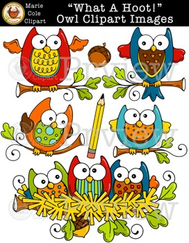 """""""What A Hoot!"""" Owl Clipart Images [Marie Cole Clipart]"""