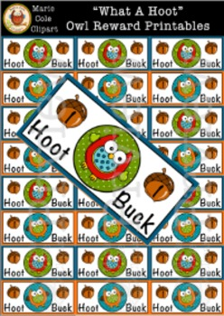 """""""What A Hoot!"""" Owl Hoot Buck Rewards Printables [Marie Cole Clipart]"""