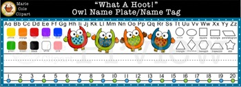 """""""What A Hoot!"""" Owl Name Plate/Tag [Marie Cole Clipart]"""