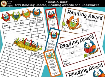 """What A Hoot!"" Owl Reading Charts, Reading Awards, & Bookmark Printables"
