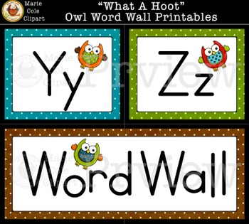 """""""What A Hoot!"""" Owl Word Wall Printables [Marie Cole Clipart]"""