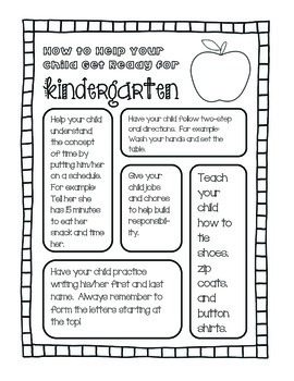 How To Help Your Child Get Ready For Kindergarten: A Parent Handout