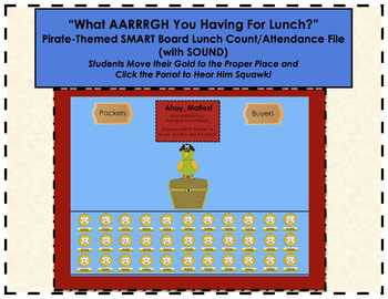 "Pirate ""What AARRRGH You Having for Lunch?"" SMARTBoard Lunch Count & Attendance"