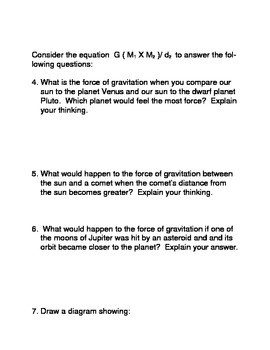 What Affects Gravitational Force? Common Core Activity