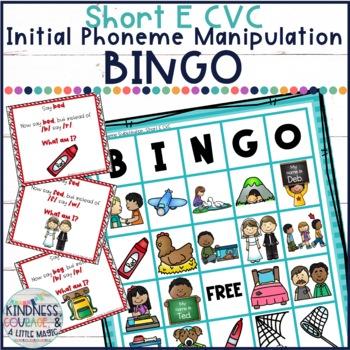 What Am I? Bingo (Short E CVC - Initial Phoneme Manipulation)