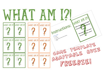 What Am I? Game Quiz and Template for Any Topic!