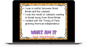 What Am I? Important Things and Events in History Game - 4th Grade