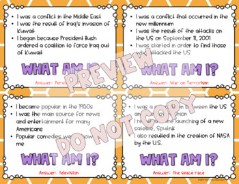What Am I? Important Things and Events in History Game - 5th Grade