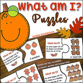 What Am I? Thanksgiving Math Puzzles (reinforcing number words & shape words)