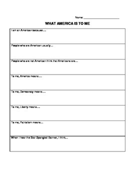 What America Means to Me Worksheet