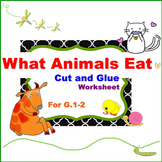 """What Animals Eat"" Cut and Glue Worksheet for G. 1-2"