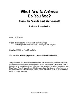What Arctic Animals Do You See? Trace the Words Worksheets (Grades PreK-K)
