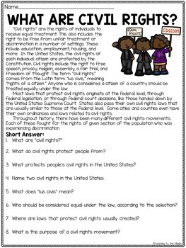 What Are Civil Rights? Reading Comprehension Article with Questions
