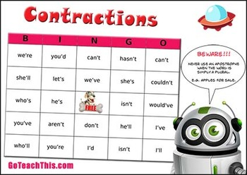 Contractions Game - BINGO - Expanded Form for Caller - Contracted for Players