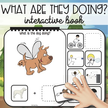 """Freebie Interactive Book! """"What Are They Doing?"""" Noun + Verb"""
