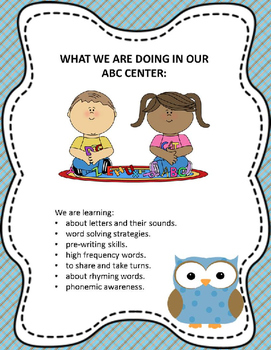 What Are We Learning in Centers?  OWL Themed  Posters with objectives