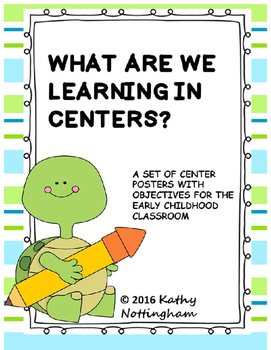 What Are We Learning in Centers?  TURTLE Themed  Posters with objectives