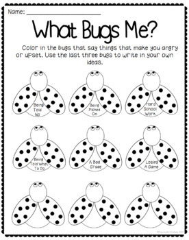 What Bugs Me - Anger Management Worksheet by CounselorChelsey | TpT