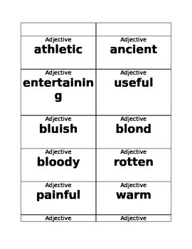 What Can Be.............  A Game to Practice Adjectives