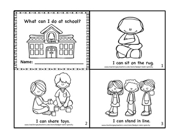 What Can I Do at School?  B&W I Can Mini Book.